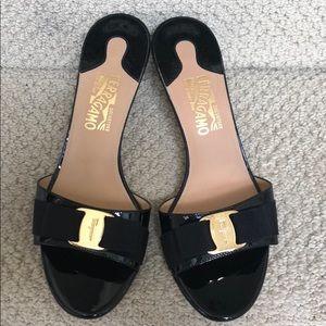 Ferragamo Bow Kitten Heel Sandals